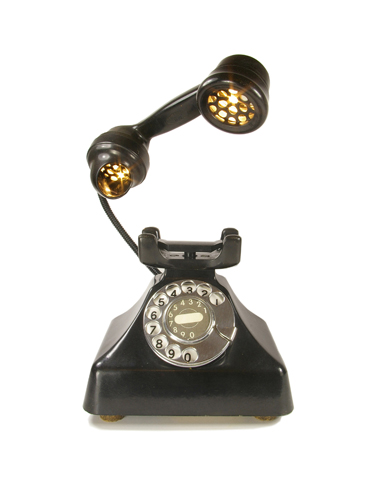 bakelight telephone table lamp, lighting design, interior design, lighting